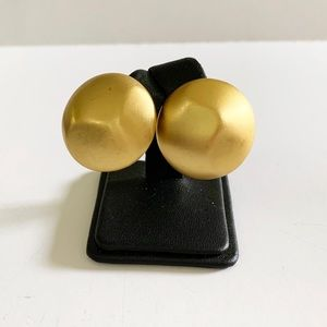 Vintage GIVENCHY Satin Gold Tone Clip Earrings
